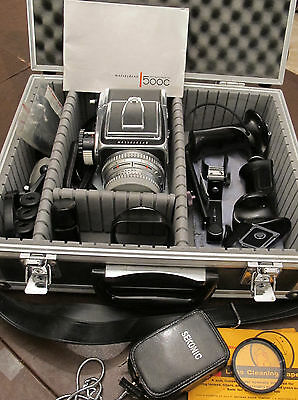 Excellent Hasselblad 500c Camera & Extras Carl Zeiss Planar 1:2.8 f=80mm Lens