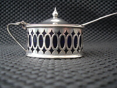 Silver Plated Mustard Pot With Blue Liner And Spoon
