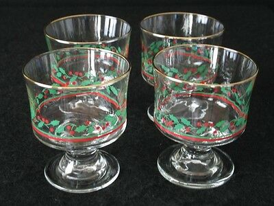 4 Arbys Christmas Holly Berry Dessert Bowls Glasses Vintage Excellent Cond.