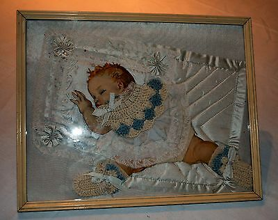 Unusual Rare Vintage Baby Print Enhanced With Antique Handmade Linens