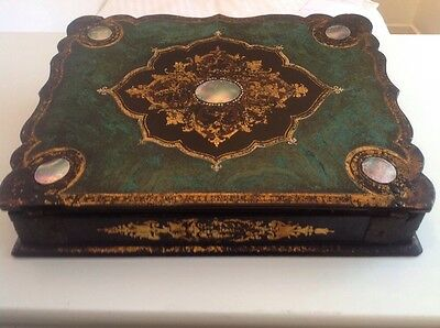 Antique Lacquered Writing Box With Painted And Mother Of Pearl Inset Plaques