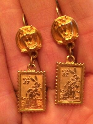 1999 Looney Tunes Stamp Collection Earrings- Bugs Bunny Tasmanian Devil CUTE!