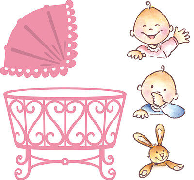 Marianne Collectables Die Cutting Stencil -Eline's Baby -Cot  + Stamps - COL1313