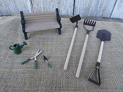 LOT of 7 Miniature METAL Wood GARDEN Tools BENCH = DOLLHOUSE ACCESSORIES
