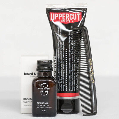 #1 Beard Starter Kit Men's Hair Beginner Oil Comb Uppercut Balm Wax Set Pack