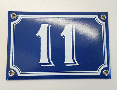 Vintage French Blue Enamel Porcelain Door House Gate Number Sign Plate 11