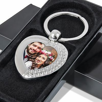 Personalised Photo Keyring Metal CRYSTAL HEART Custom Logo Wedding Gift FREE BOX