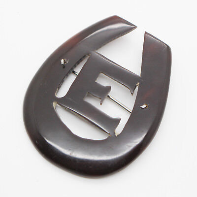 Antique Faux Tortoiseshell Celluloid Carved Brooch E HorseShoe Initial Edwardian