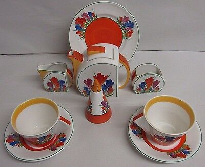 Vintage Clarice Cliff Bizarre Crocus Pattern Tea For Two Set With A Sugar Shaker