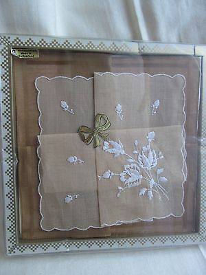Vintage Pocket Squares Coffee Shades Made in Switzerland Boxed Hankies