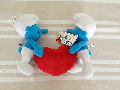 2 cuddly soft toy love Smurfs with heart