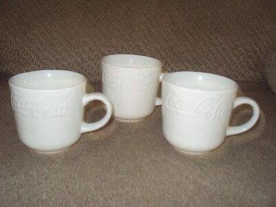 Coca-Cola Set Of 3 Cups/mugs-White With Embossed Lettering-Gibson
