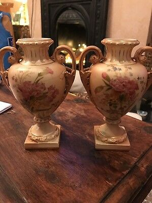 Antique Royal Worcester Pair Of Urns