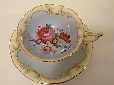 Paragon Light Blue And Creamy Design With Flowers Tea Cup And Saucer