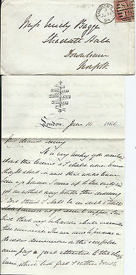 GB 1864 1d Red Pl.91 Entire on Rawling's Hotel Headed Paper - London to Downham