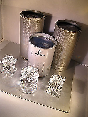 "Swarovski ""3 Crystal Candle Holders "" All W/original Packing-Retired/stunning!"