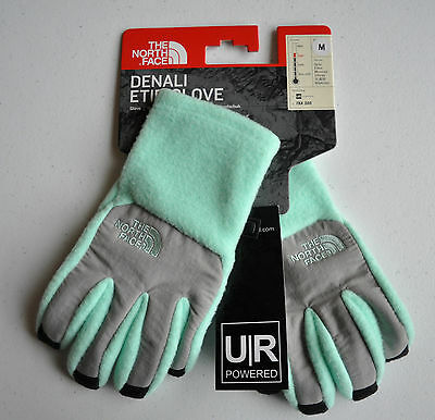New The North Face Denali Etip Glove GIRLS MINT GREEN Size Medium