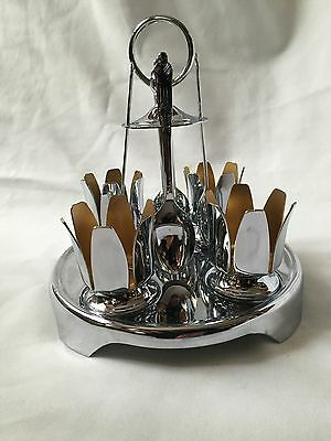 Beautiful Vintage Chrome Plated Egg Set With Stand And  Spoons