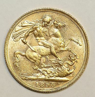 1890 Full Gold Sovereign London Mint About Uncirculated Condition