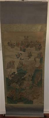 Antique Chinese Immortals Daoist 100 Gods Hand Painted Scroll