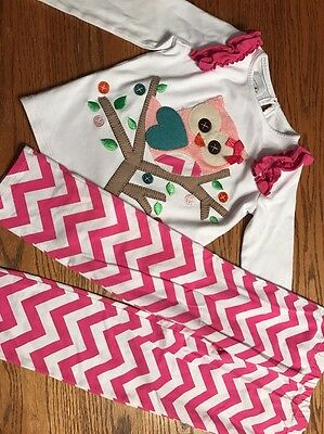 Mudpie Toddler Girls Size 5T Chevron Owl Top And Bottoms Outfit