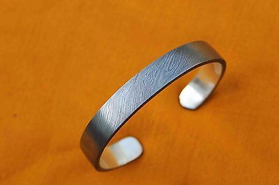 Nicely Made Twisted Damascus Steel Silver Liner Inside Bracelets Gift Someone