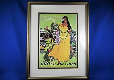 Vintage United Airlines Stan Gallo Hawaii Poster Reprint, Framed