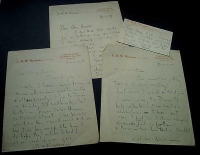 Collection Signed Letters Artist Christopher R W Nevinson to Collin Brooks c1937