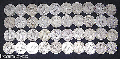 Mixed Date Standing Liberty Quarters With Dates Full Roll 40 Silver Coins