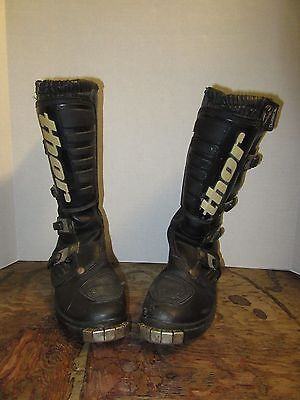 Thor 327 Tech Riding Boots Size 7 Black Motocross Dirt Bike Off Road