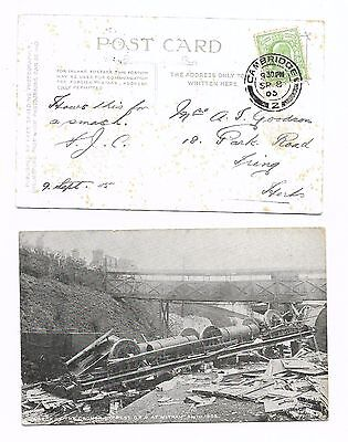 Rail Disaster  Witham 1 Sep 1905 - Pic Postcard Postmarked Cambridge 8.9.05