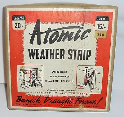 Vintage Atomic Weather Strip ' Draught Excluder   1 Inch Wide -  20 Feet 1971