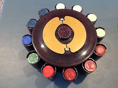 VINTAGE BAKELITE POKER CHIP CADDY - TurnIt Mfg - CAROUSEL with CHIPS! Cards