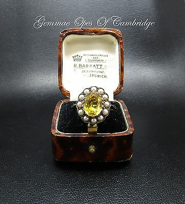Victorian 1877 9ct Gold Yellow Spinel and Seed Pearl Flower Cluster Ring Size P