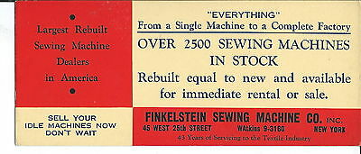 J-047 - Finkelstein Sewing Machine Co, NY, Advertising Ink Blotter 1920s-40s
