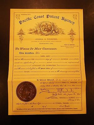 Pacific Coast Patent Agency Patent for Attachment for Typewriters 1913