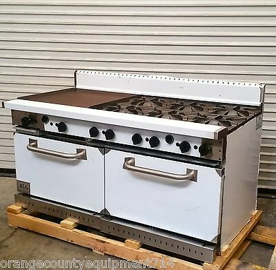 """NEW 60"""" Range 6 Burner 24"""" Griddle Flat Top Ideal #3490 Commercial NEW Gas Stove"""