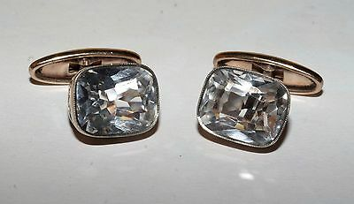 ROYAL! ROCK CRYSTAL Cufflinks Silver 875 Gold plated USSR Antique Awesome!