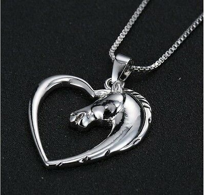 Horse Heart Pendant Necklace Silver ANIMAL RESCUE DONATION