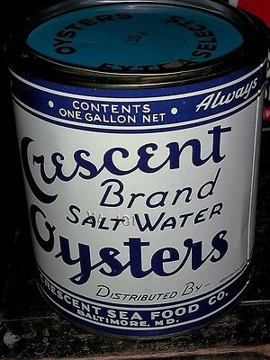Old Vintage Crescent Brand Oysters Gallon Tin Can Baltimore Md