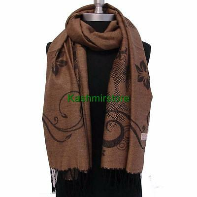New Pashmina Paisley Floral Silk Wool Scarf Wrap Shawl Soft Classic Brown #Fr06