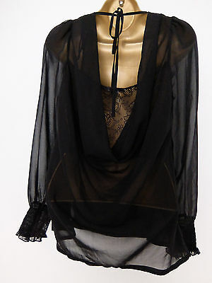 NEW LOOK ● size 10 ● black silky lace blouse top womens ladies
