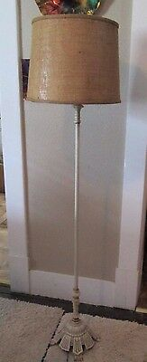 Antique Vintage Floor Lamp HEAVY Cast Iron Painted Ornate Arts n Crafts Style