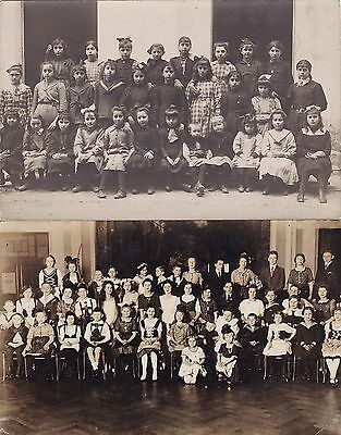 Two Antique Real Photo Postcards - School Children - Social History, Boys, Girls