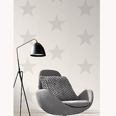 Stars Wallpaper - Grey On White - Rasch 248135 New