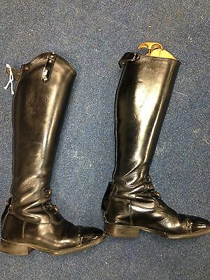DeNiro Long Leather Riding Boots Black Size 4 With Patent & Diamante