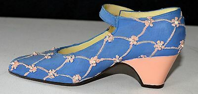 DECORATIVE ORNAMENTAL MINIATURE BLUE SHOE with Pink Flowers