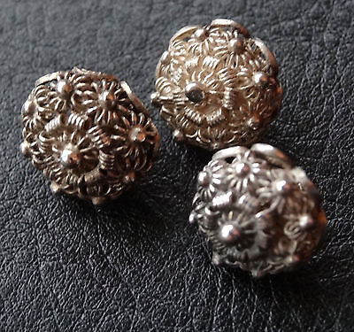 antique hallmarked SILVER filigree flower set of 3 fancy buttons -N65