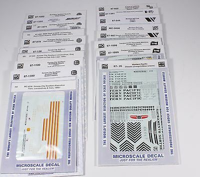 Microscale decals various roads, Lot 1 25 decals