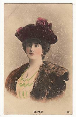 VINTAGE RP POSTCARD,GLAMOUROUS WOMAN, IN FUR,HAND PAINTED, c1905